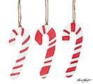 ASSORTED CERAMIC CANDY CANE ORNAMENTS