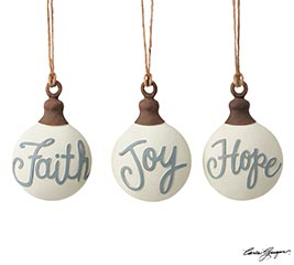 FAITH JOY HOPE SINGLE WORD ORNAMENTS