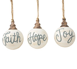 FAITH HOPE JOY ROUND MESSAGE ORNAMENT