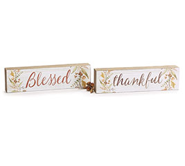 THANKFUL/BLESSED REVERSIBLE SHELF SITTER