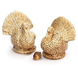 TAN COLOR TURKEY SALT AND PEPPER SHAKERS
