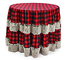 "96"" ROUND RED/BLACK PLAID WITH FAUX FUR"