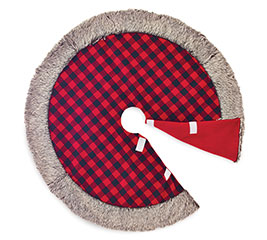 "48"" ROUND RED AND BLACK CHECK TREE SKIRT"