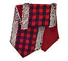 "66"" RED/BLACK CHECK TABLE RUNNER W/FUR"