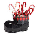 BOOT SHAPE CANDY CANE CONTAINER WITH LID 1st Alternate Image