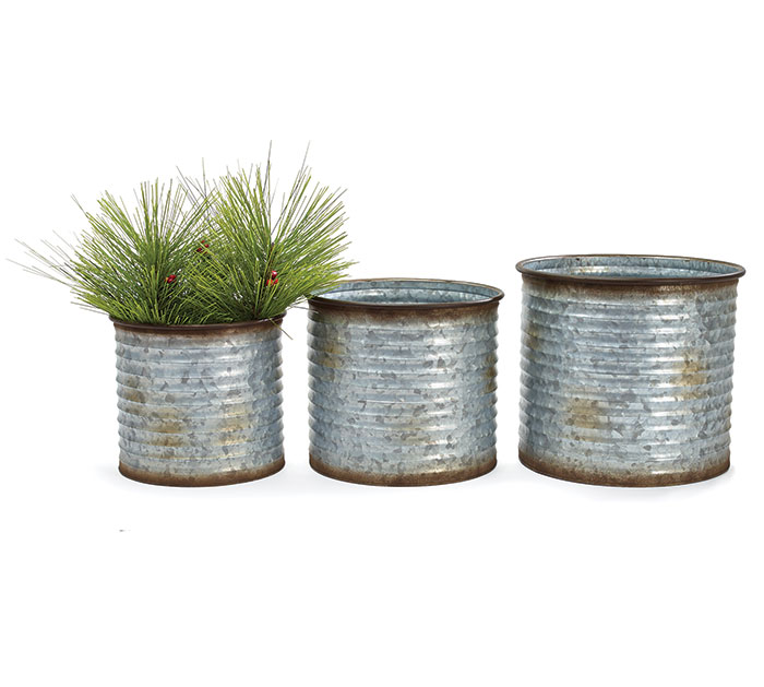 NESTED GALVANIZED RIBBED PLANTERS