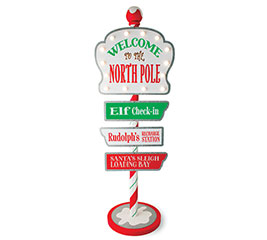 LIGHTED WELCOME TO THE NORTH POLE SIGN