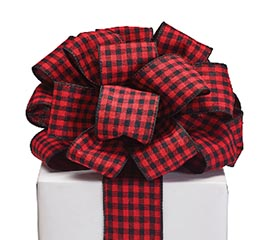 #40 RED BLACK CHECK RIBBON