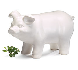 SOLID WHITE PIG FIGURINE