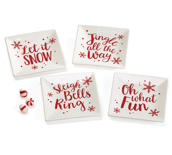 HOLIDAY RED MESSAGE PLATE SET