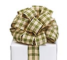 #9 IVORY GREEN PLAID FABRIC RIBBON