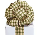 #40 IVORY GREEN PLAID RIBBON