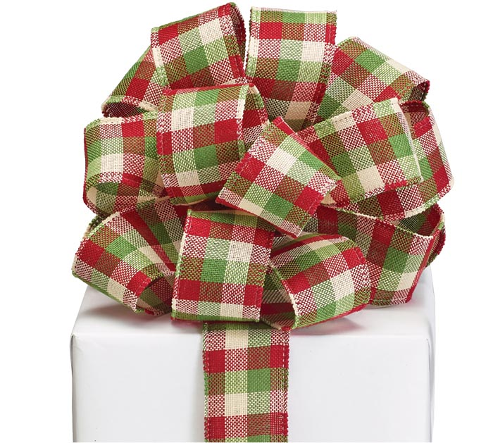 #9 RED GREEN IVORY CHECK RIBBON