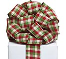 #40 RED GREEN IVORY CHECK RIBBON
