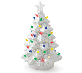 LIGHTED WHITE CHRISTMAS TREE