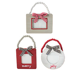 RED  GRAY FRAME ORNAMENT ASTD