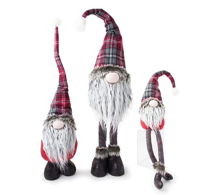 RED AND GRAY PLAID GNOME FAMILY ASTD