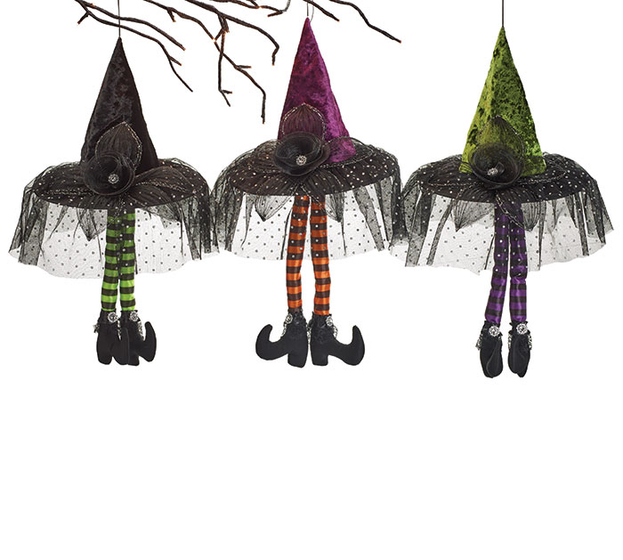 HANGING WITCH HAT WITH LEGS ASTD