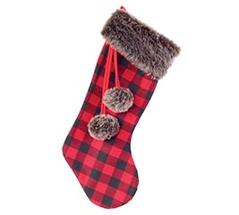 STOCKING RED/BLACK BUFFALO PLAID