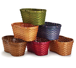 "6"" PEANUT BAMBOO BASKET ASST FALL COLORS"