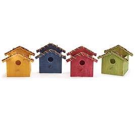 WOOD BIRDHOUSE PLANTER ASST FALL COLORS