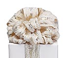 #40 WHITE FUR WITH METALLIC GOLD RIBBON