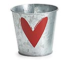 "4"" GALVANIZED POT COVER WITH RED HEART"