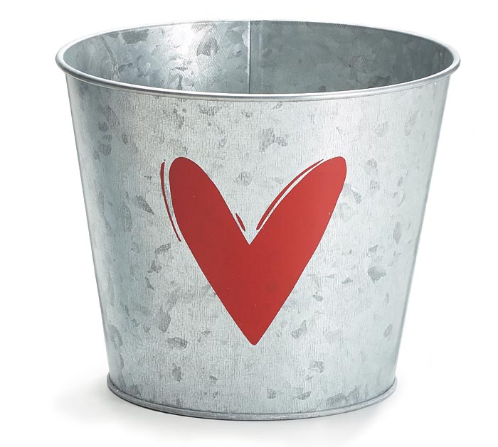 """6"""" GALVANIZED POT COVER WITH RED HEART"""