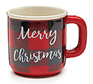 RED/BLACK CHECK MERRY CHRISTMAS MUG