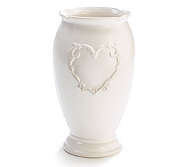 EMBOSSED HEART WHITE CERAMIC VASE