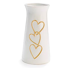 CERAMIC VASE WITH RAISED HEARTS