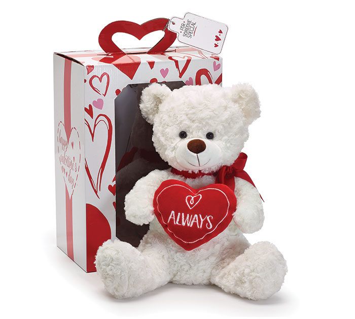 "15"" PLUSH ALWAYS VALENTINE BEAR IN BOX"