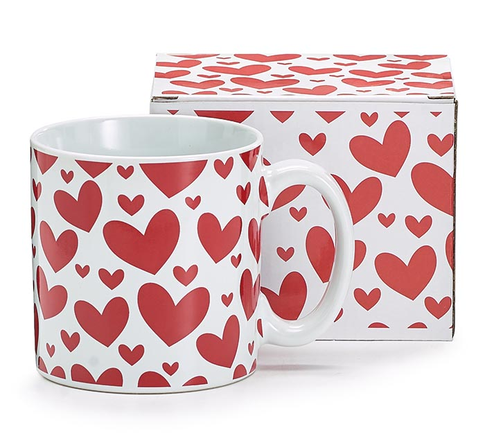 13 OZ WHITE MUG WITH RED HEARTS ALL OVER