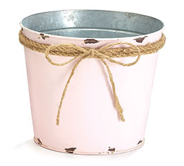 LIGHT PINK POT COVER WITH ROPE BOW