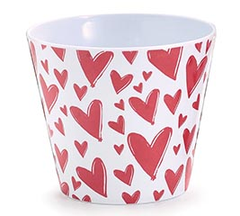 "4"" MELAMINE POT COVER WITH RED HEARTS"