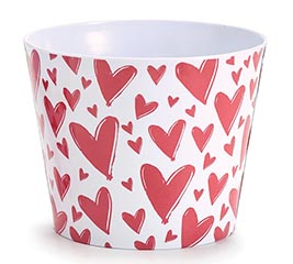"6"" MELAMINE POT COVER WITH RED HEARTS"