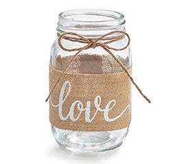 QUART JAR BURLAP WITH LOVE MESSAGE