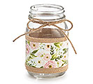 PINT JAR FLORAL PATTERN ON BURLAP
