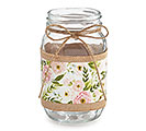 QUART JAR FLORAL PATTERN WITH BURLAP