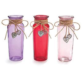 GLASS VASE SILVER HEART DANGLES