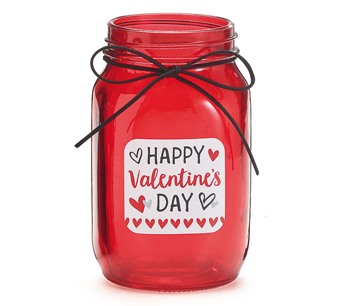 HAPPY VALENTINE'S DAY QUART MASON JAR