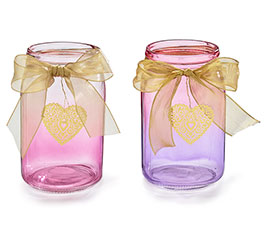 QUART MASON JAR OMBRE PINK/PURPLE HEART