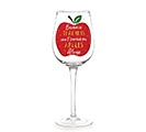 SURVIVE ON APPLES ALONE WINE GLASS
