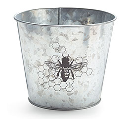 HONEY BEE GALVANIZED TIN POT COVER