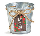 RED FLOWER TAG POT COVER WITH MOM MSG