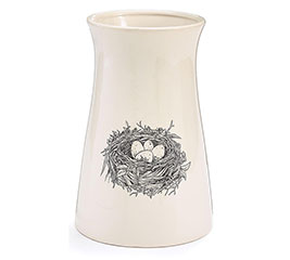 BLACK/WHITE BIRD NEST VASE