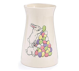 BUNNIES STACKING EGGS ON WHITE VASE