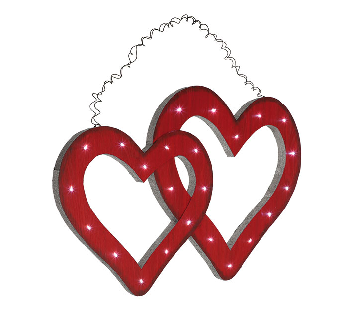 WALL HANGING DOUBLE HEART WITH LED LIGHT