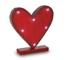 DECOR LIGHT UP RED HEART ON STAND