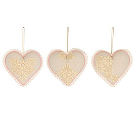 ORNAMENT BEIGE LINEN AND LACE HEARTS
